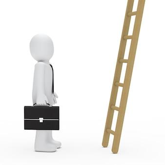 木製のはしごを見ているビジネスマン