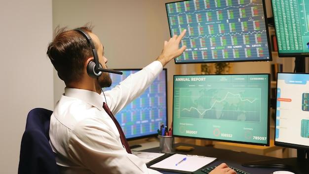 ヘッドフォンを使用して会話しながら株式市場のグラフを見ているビジネスマン。