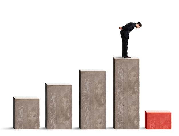Бизнесмен, резко снижающий производительность статистических