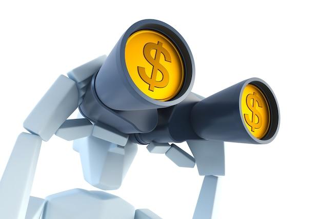 사업가 달러 이익을 찾고 있습니다. 3d 렌더링