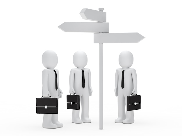 Businessman looking at a signpost