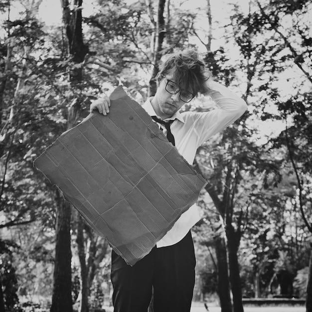 Businessman lost confusion cardboard copy space concept