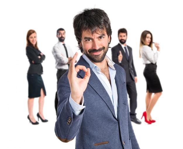 ビジネスマン、笑顔、サイン、白、背景