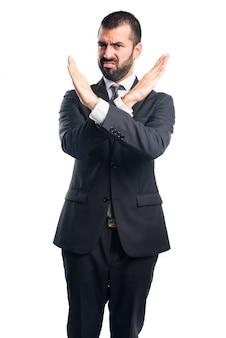 Uomo d'affari, fare, stop, segno