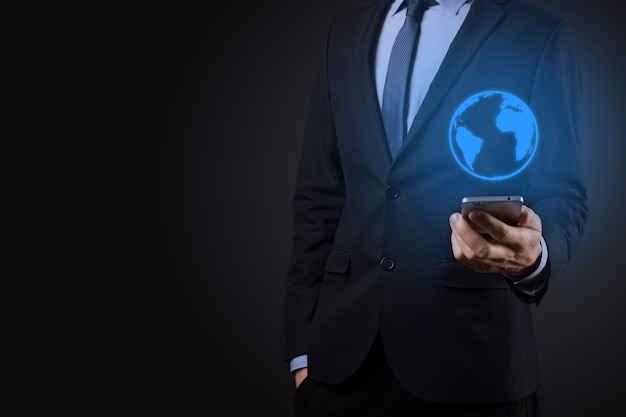 Businessman man hand holding earth icon , digital globe.