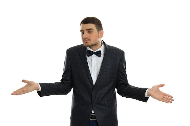 Businessman in misunderstanding isolated on white background.