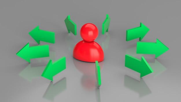 Бизнесмен движущегося направления. бизнесмен и стрелки в разных направлениях. 3d визуализация.