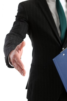 Businessman offer hand to shake as hello closeup