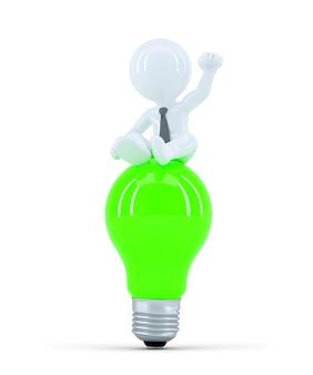 緑の電球の上にビジネスマン。ビジネスアイデアの概念。孤立