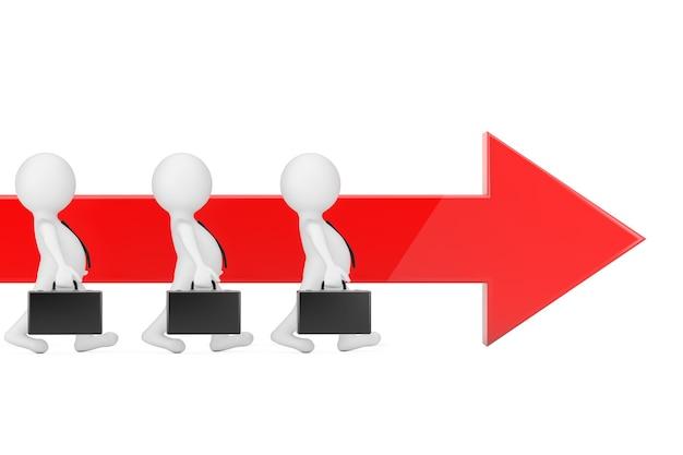 사업가 사람 흰색 배경에 빨간색 진행 화살표 방향으로 앞으로 걸어. 3d 렌더링