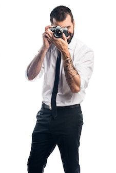 Businessman photographing