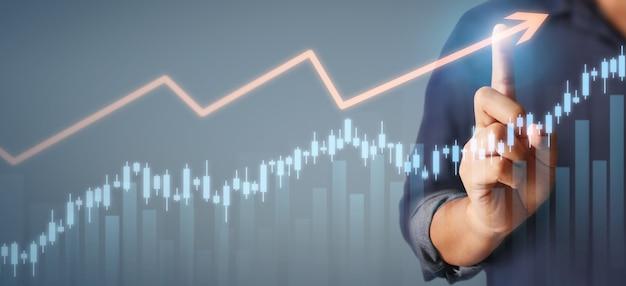 実業家計画グラフの成長とチャートの肯定的な指標の増加