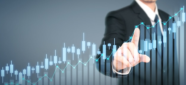 Businessman plan graph growth increase of chart positive indicators in his business