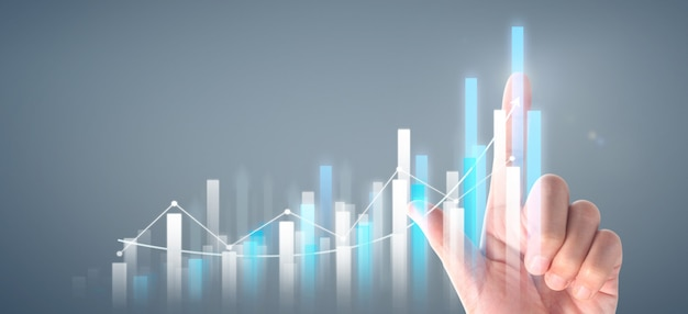 Businessman plan graph growth and increase of chart positive indicators