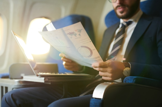 Businessman in plane
