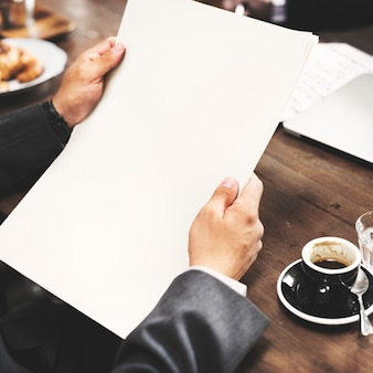 Businessman planning strategy coffee shop copy space concept