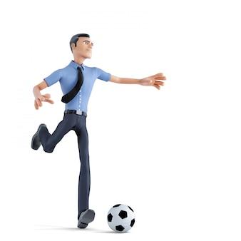 Бизнесмен играя футбол. концепция дела. изолированный, содержит обтравочный контур