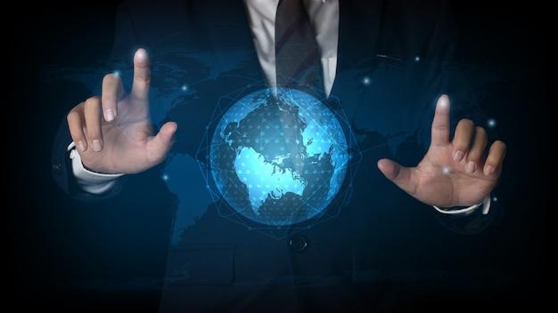 ビジネスマンは、グローバルネットワーク接続と通信ネットワーク、ビジネスネットワークの概念にスポットを指す