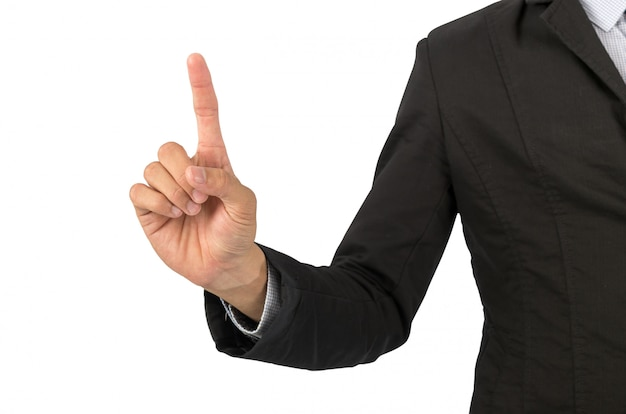 Businessman points finger
