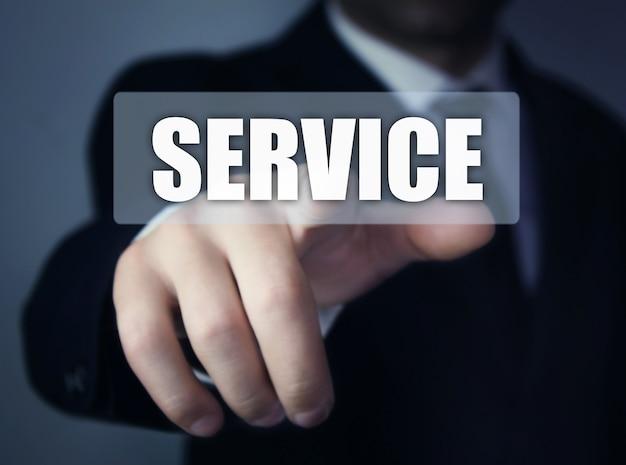 ワードサービスを提示するビジネスマン