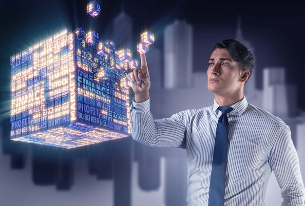 Businessman pressing virtual buttons in concept