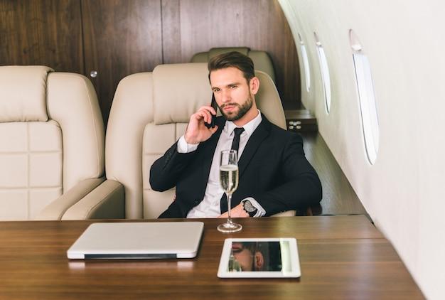 Businessman on private jet