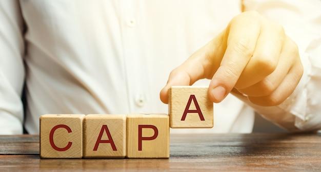 ビジネスマンはcapaという言葉で木製のブロックを置きます。