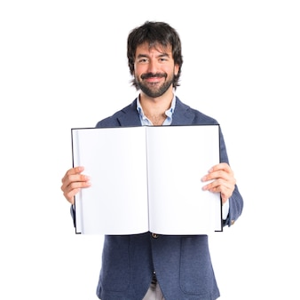 흰색 배경 위에 책을 읽고 사업