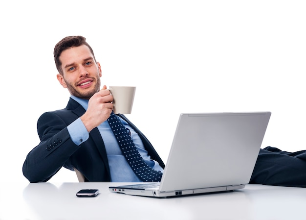 Businessman relaxing in break time
