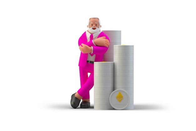 Businessman rich man standing near stacks of ethereum coins isolated on white background 3d