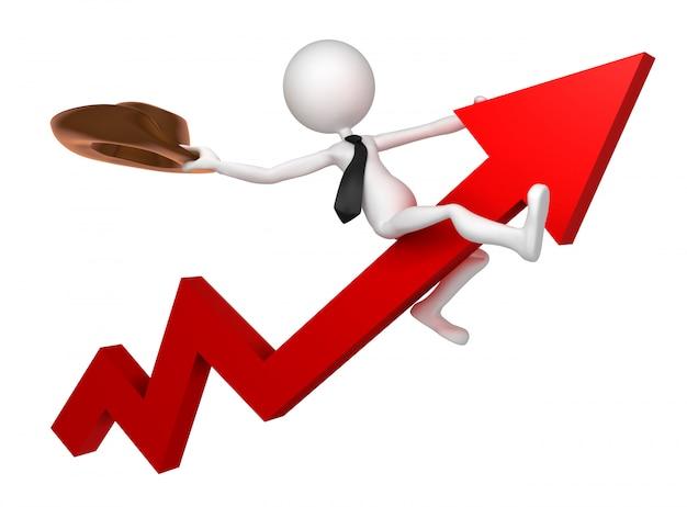 ビジネスマンは株式市場のグラフに乗る