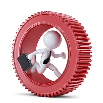 Businessman running inside gear. business metaphor