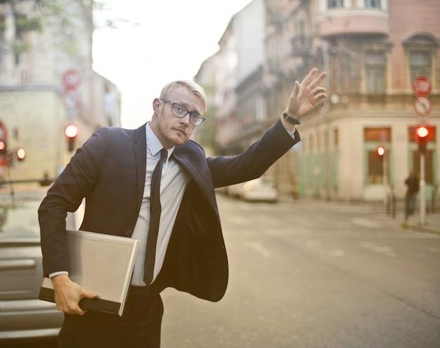 Businessman running to a meeting