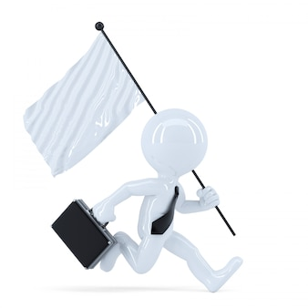Businessman running with flag. isolated. contains clipping path