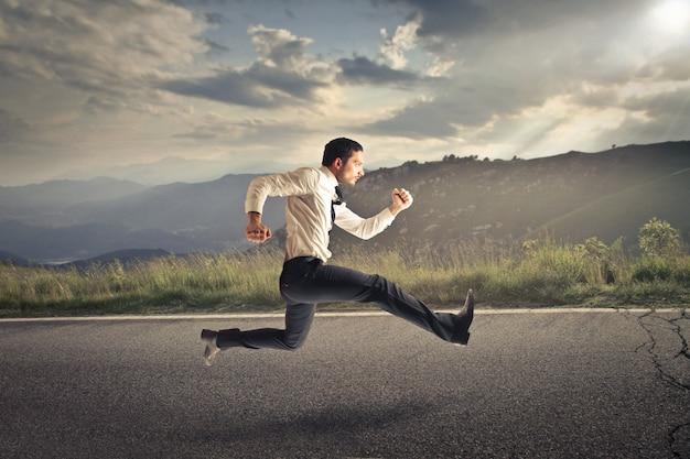 Businessman rushing off