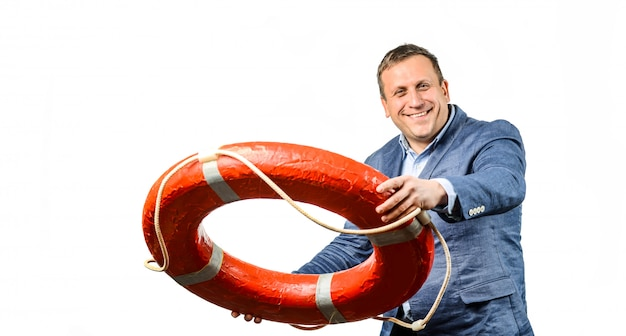 Businessman saving colleague with lifebuoy