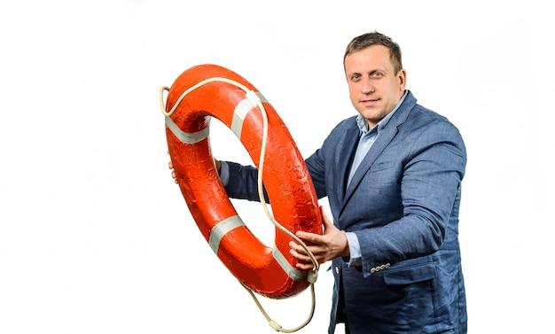 Коллега спасения бизнесмена с спасательным кругом