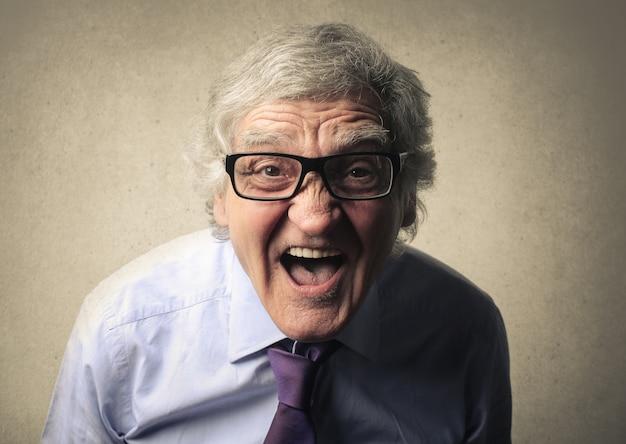A businessman scream