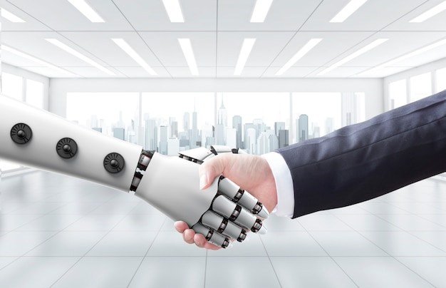 Businessman shake hand with machine or robot