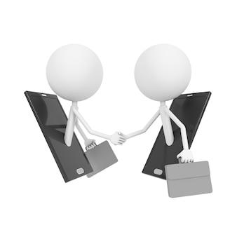 モバイル経由で握手するビジネスマン