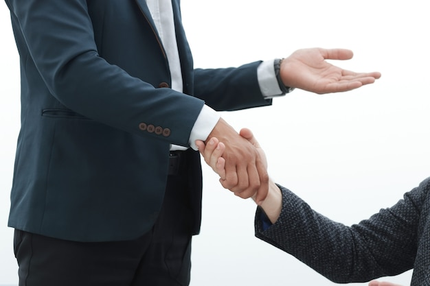 彼のパートナーと握手するビジネスマン。