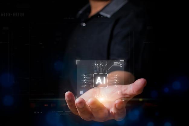 Businessman showing artificial intelligence ai concept