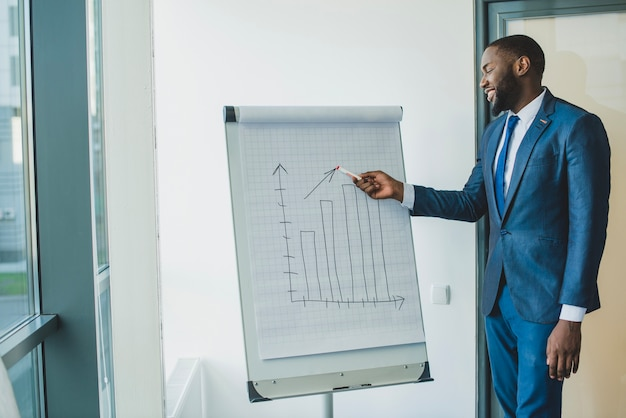 Businessman showing chart