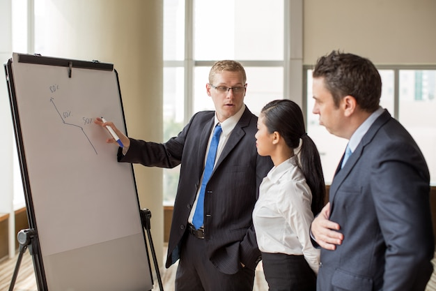 Businessman showing growth rates at meeting