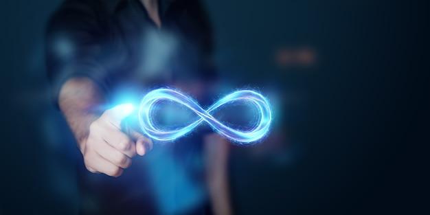 Businessman showing infinity symbol