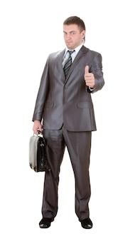 Бизнесмен показывает знак ок. изолированные на белом