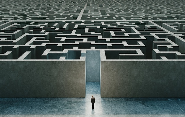 Businessman standing in front of the entrance to the maze. 3d rendering