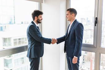 Businessman standing in office near the window shaking hands
