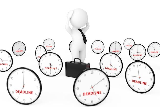 ビジネスマンは、白い背景の3dレンダリングに締め切り記号で多くの時計の中心で強調