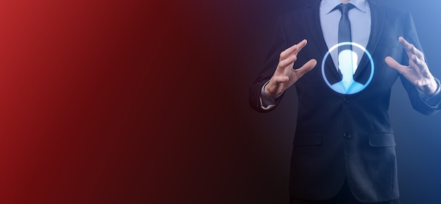 Businessman in suit holding out hand icon of user Premium Photo